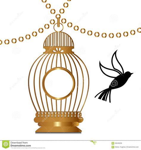 gabbia dorata gabbia dorata con l uccello illustrazione vettoriale