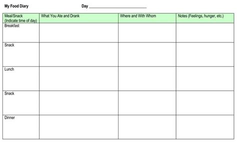 7 Food Log Templates To Record Daily Food Intakes My Food Journal Template