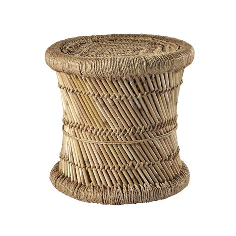 mogale bamboo and fibre wicker stool maisons du