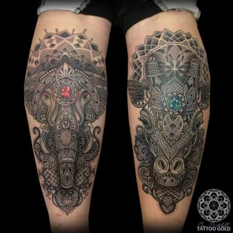 elephant and giraffe tattoo calf elephant dotwork giraffe by coen mitchell