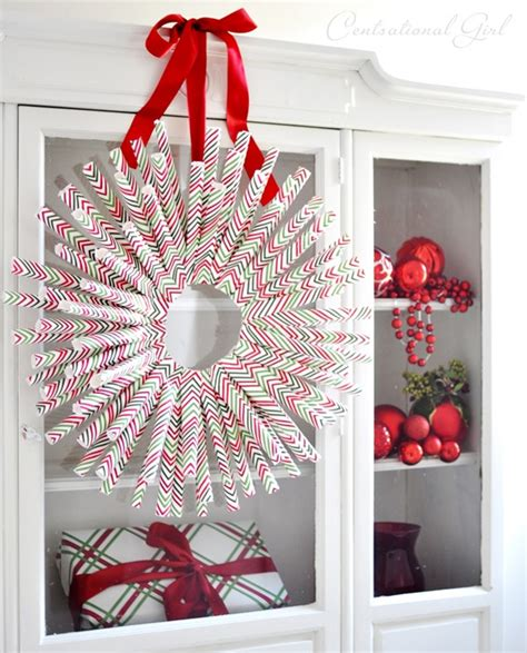 A Paper Wreath - diy wrapping paper wreath centsational