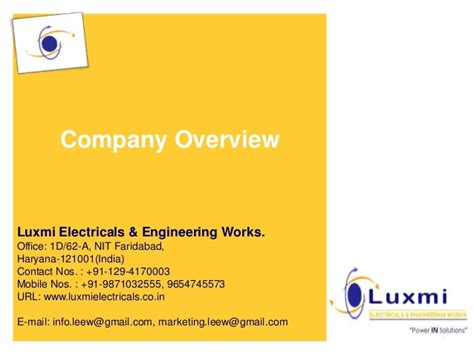 company profile electrical contractors