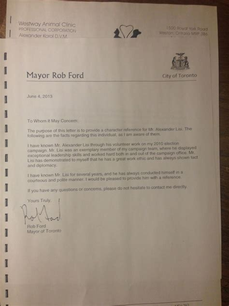 Character Letter For Bond Hearing Ford Wrote Letters Supporting Two With Criminal Past Cp24