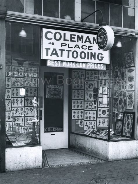 nyc tattoo history vintage cap coleman tattoo shop front poster print