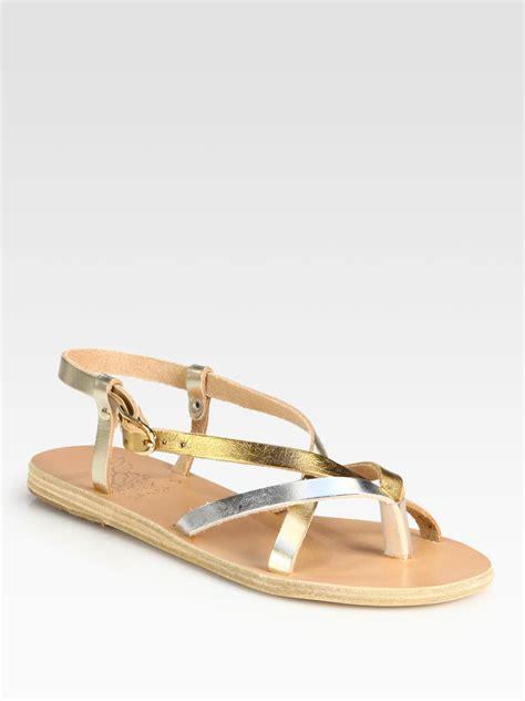 ancient sandals ancient sandals semele metallic leather sandals in