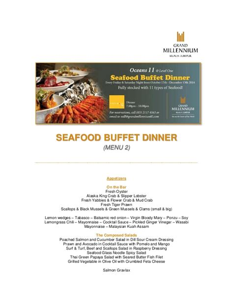 Seafood Buffet Dinner Menu 2 The Mill Cafe Seafood Buffet Menu