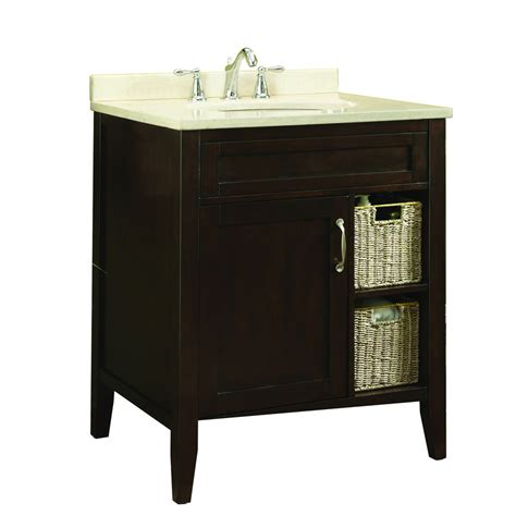 Lowes Bathroom Vanities With Tops Shop Allen Roth Tanglewood 30 In X 23 75 In Espresso Undermount Single Sink Bathroom Vanity