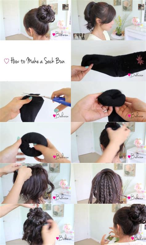 diy sock bun tutorial braided sock bun updo hair tutorial hair if you