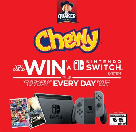 Post Sweepstakes Nintendo Switch Code - quaker chewy nintendo switch contest enter your pin and