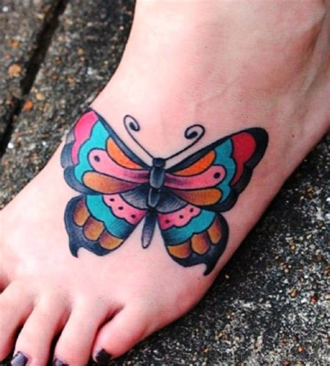 colorful foot tattoos 90 butterfly tattoos on foot