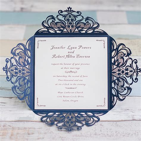 blue wedding invitations graceful navy blue laser cut wedding invitation ewws030 as