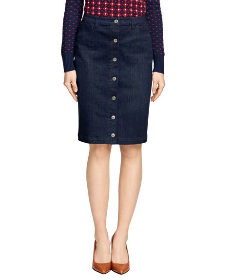 brothers denim pencil skirt in blue lyst