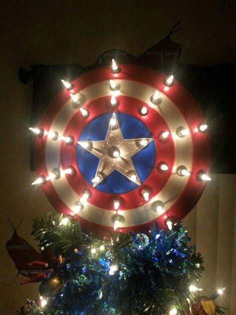 captain america shield tree topper superhero christmas geek christmas christmas tree themes