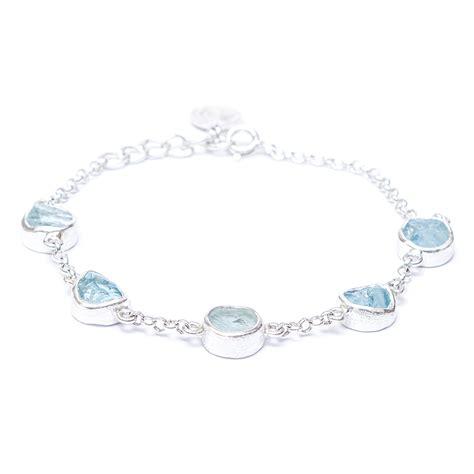 Handcrafted Sterling Silver Bracelets - aquamarine gemstone sterling silver handmade