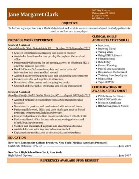 medical assistant resumes templates certified resume good objective