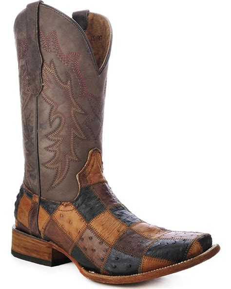 Patchwork Cowboy Boots - circle g s ostrich patchwork cowboy boot square toe