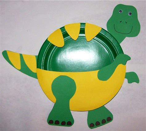 Paper Dinosaur Craft - preschool crafts for t rex paper plate craft