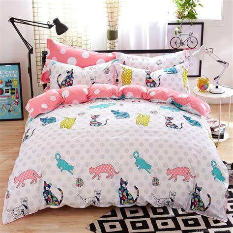 cheap kids bedding girls kitty cat print bedding cotton kids bed linen online