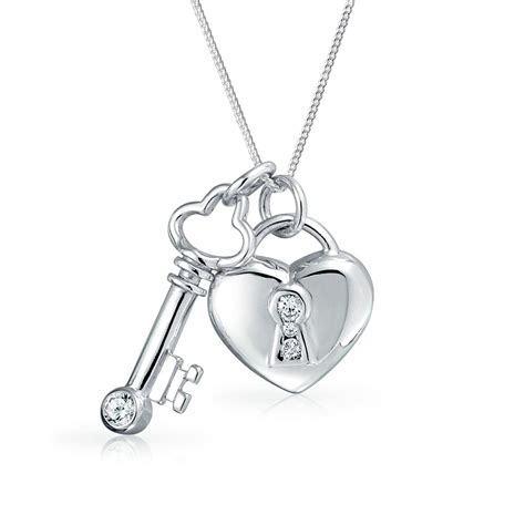 Silver Locket Key Necklace 925 silver cz key and lock pendant necklace 17in