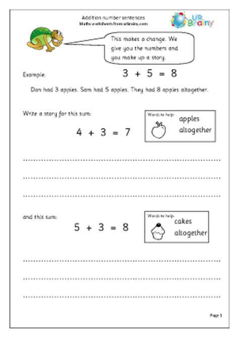 addition number stories addition maths worksheets for year