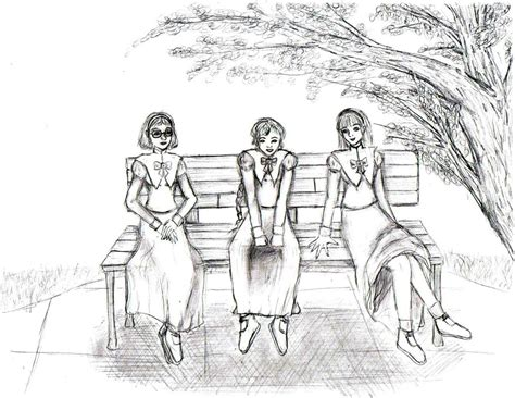 park bench drawing park bench b w version by breadstick memories on