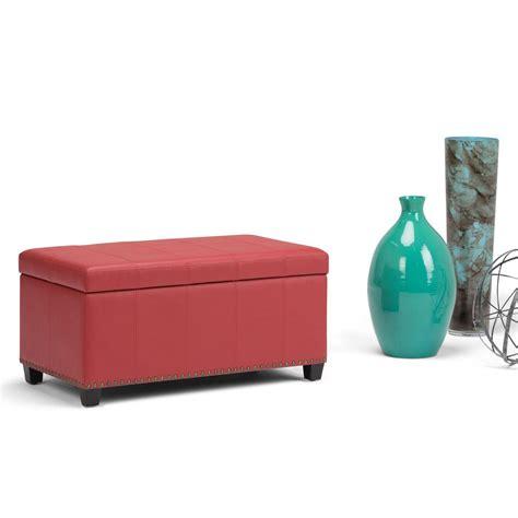 red leather storage ottoman simpli home amelia crimson red pu faux leather storage