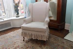 shabby chic slipcovers for wingback chairs items similar to slipcovered wingback chair linen