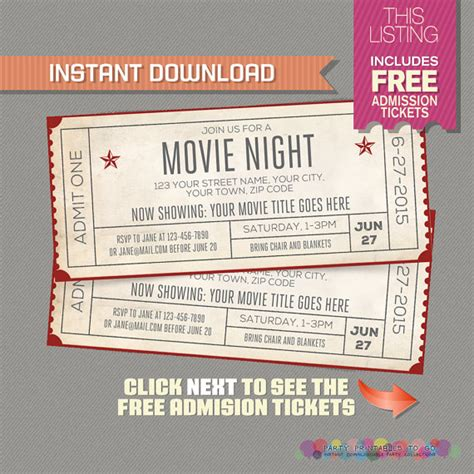 movie night invitation with free admission tickets movie