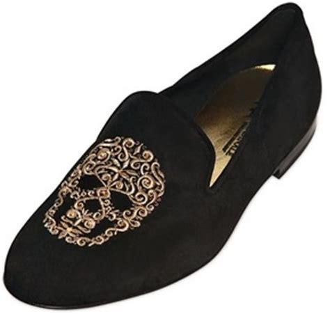 mens skull loafers kardinale skull embroidered suede loafers in black for