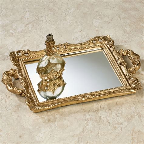 Gold Vanity Tray by Farris Chagne Gold Mirrored Vanity Tray