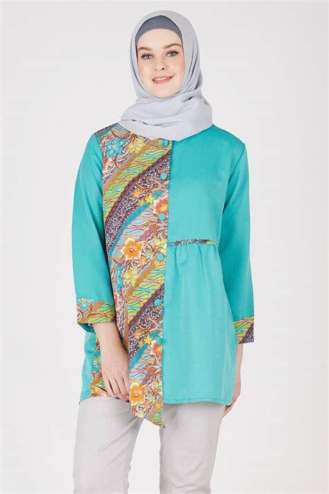 Y Pakaian Wanita Blouse Sasa Baju Atasan Wanita Blouse sell assymetric batik blouse tosca tops hijabenka
