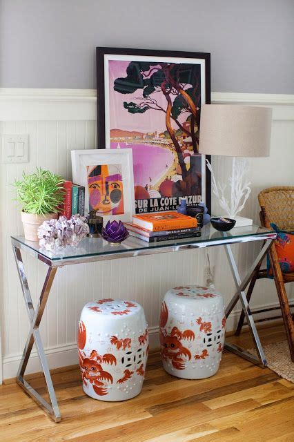 Entry Table With Stools Glass And Metal Console Table Foo Garden Stools