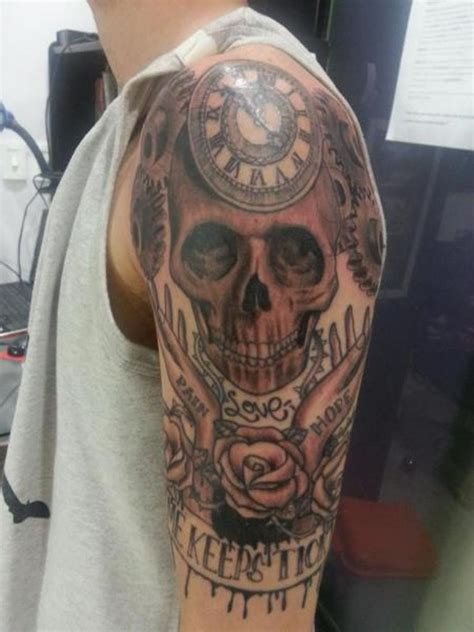 skull and clock tattoo 61 stunning clock shoulder tattoos
