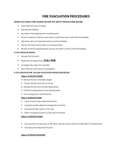 evacuation procedure template free evacuation procedures