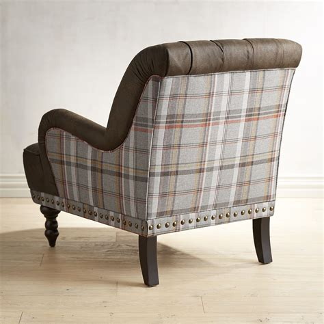chas armchair chas earth brown plaid armchair goodglance