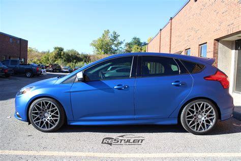 St Blue matte metallic blue ford focus st vehicle customization shop vinyl car wrap car wrap in