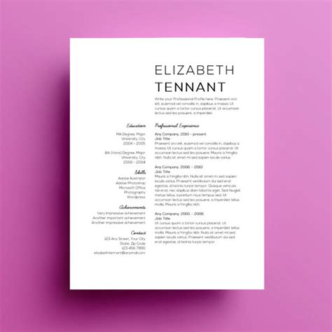 Best Resume Templates Etsy by 4 Minimalist Resume Templates