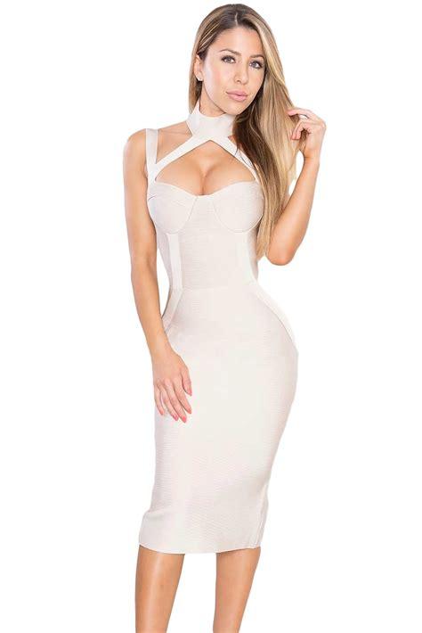 Bandage Dress apricot high neck hollow out bandage dress charming wear