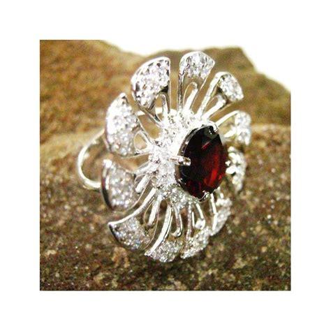 Cincin Putih Wanita Batu Garnet cincin wanita silver ring 6us dengan garnet model bunga