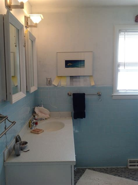 what to do with a baby blue bathroom