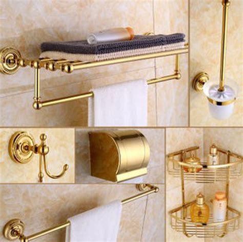 Luxury Golden Brass Bath Hardware Hanger Set Discount Bathroom Accessories Sets Luxury