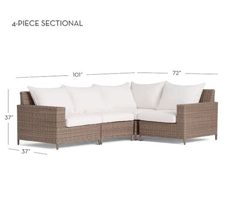 all weather wicker sectional torrey all weather wicker square arm sectional set