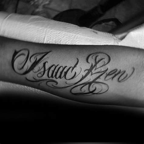 isaac tattoo designs 40 forearm name tattoos for manly design ideas