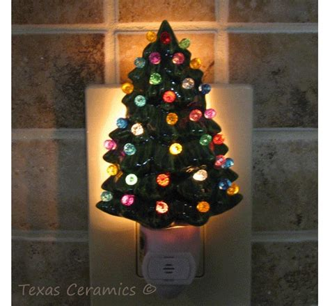 christmas tree night light little green ceramic christmas tree night light with