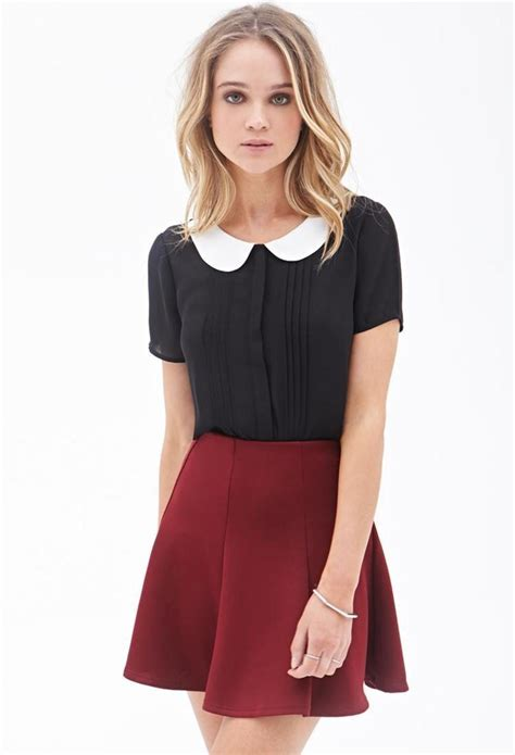 Pleated Collar Sleeve Top pleated pan collar top http picvpic tops