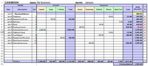 excel template for small business bookkeeping excel cashbook for easy bookkeeping small business