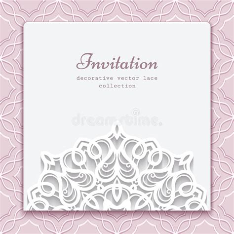 Paper Lace Templates Card by Invitation Card With Cutout Paper Lace Decoration Stock