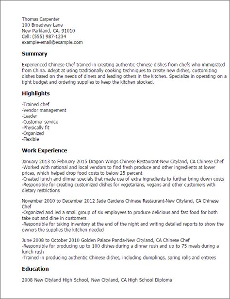 professional chef resume sle 28 images professional