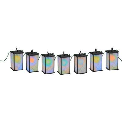 newport coastal patio lights 7 light black led mosaic color changing string light 7973 11b the