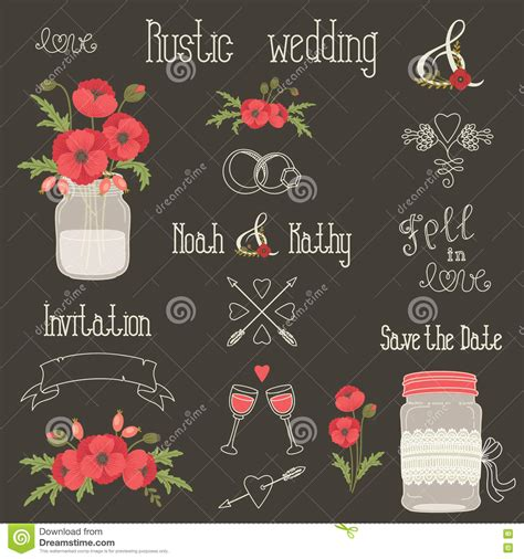 wedding design elements vector rustic wedding design elements with poppy flowers stock